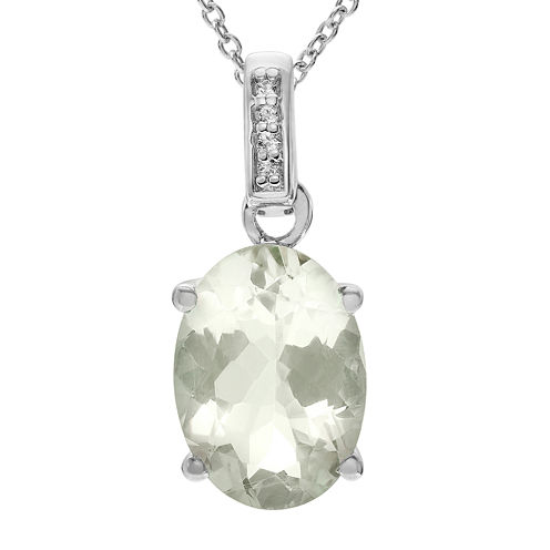 Genuine Green Amethyst & White Topaz Sterling Silver Pendant