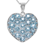Genuine Blue Topaz Sterling Silver Heart Pendant