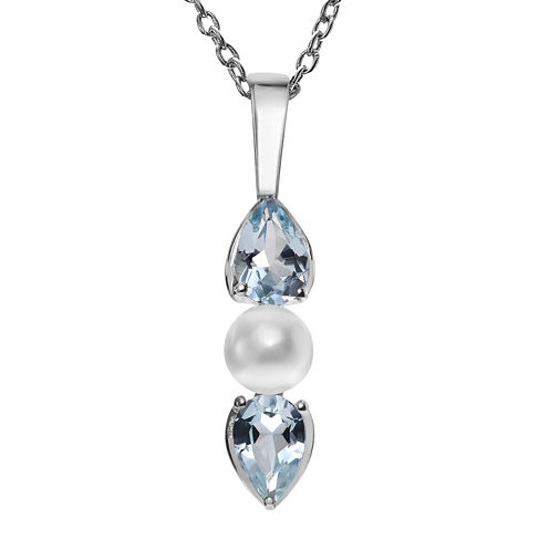 Genuine Blue Topaz and Simulated Pearl Sterling Silver Pendant Necklace