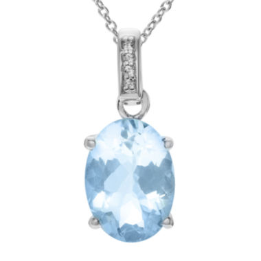 jcpenney.com | Genuine Blue and White Topaz Sterling Silver Pendant Necklace