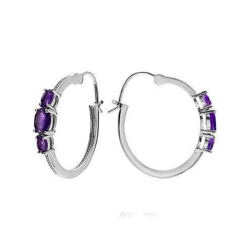 Genuine Amethyst Sterling Silver Hoop Clip-On Earrings