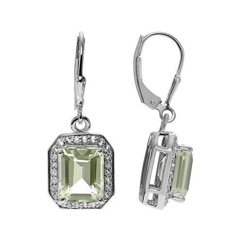 Journee Collection Lab-Created Green Quartz White Topaz Sterling Silver Earrings