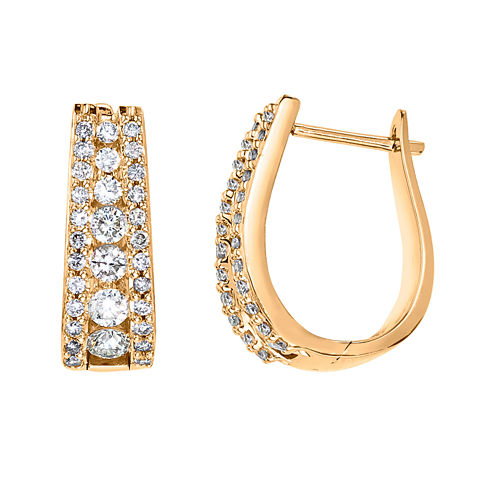 1 1/2 CT. T.W. Certified Diamond 14K Yellow Gold Hoop Earrings