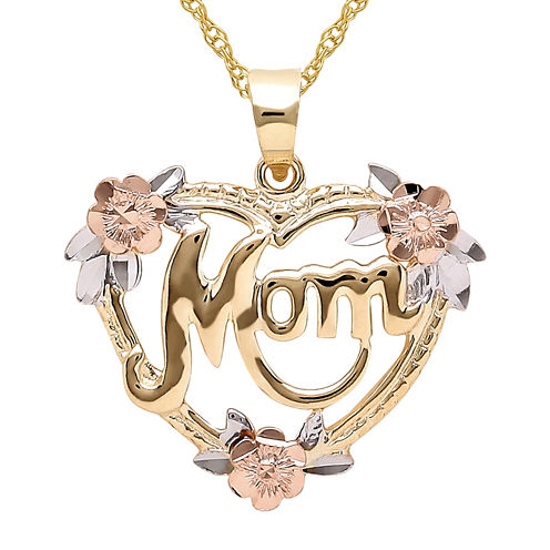 Infinite Gold™ 14K Gold Tri-Color Mom Flower Heart Pendant Necklace