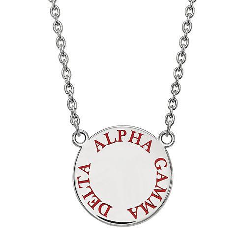 Alpha Gamma Delta Enamel Sterling Silver Disc Pendant Necklace