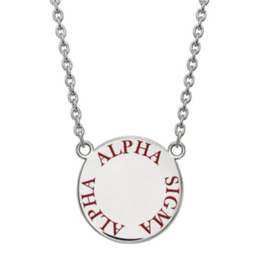 jcpenney.com | Alpha Sigma Alpha Enamel Sterling Silver Disc Pendant Necklace