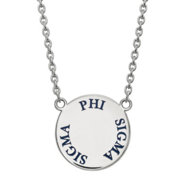 jcpenney.com | Phi Sigma Sigma Enamel Sterling Silver Disc Pendant Necklace