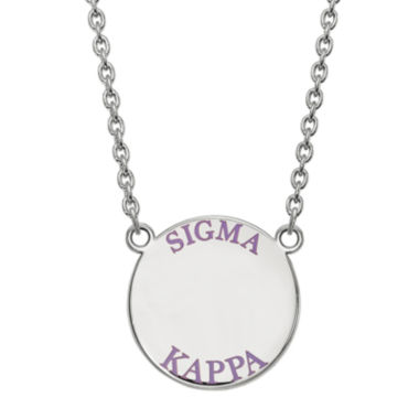 jcpenney.com | Sigma Kappa Enamel Sterling Silver Disc Pendant Necklace