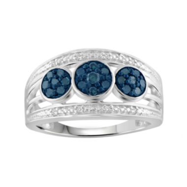 jcpenney.com | 1/3 CT. T.W. White & Color-Enhanced Blue Diamond Sterling Silver Ring