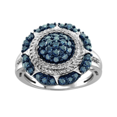 jcpenney.com | 1 CT. T.W. White and Color-Enhanced Blue Diamond Sterling Silver Ring