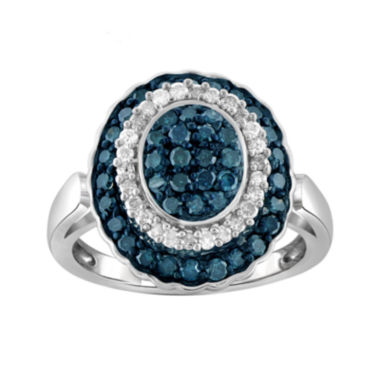 jcpenney.com | 1 CT. T.W. White & Color-Enhanced Blue Sterling Silver Diamond Ring