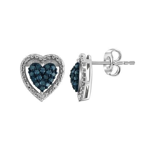 1/4 CT. T.W. White & Color-Enhanced Blue Diamond Sterling Silver Heart Earrings