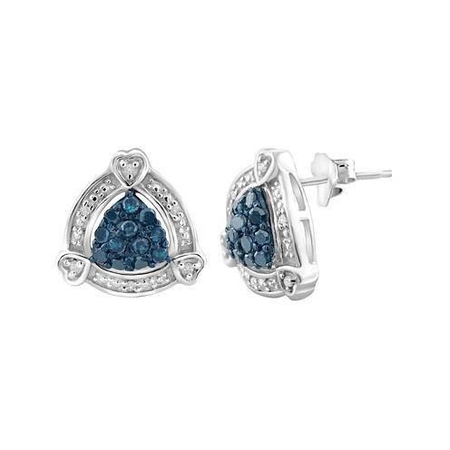 1/3 CT. T.W. White & Color-Enhanced Blue Diamond Sterling Silver Earrings