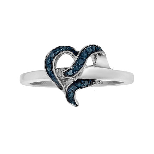 1/7 CT. T.W. Color-Enhanced Blue Diamond Sterling Silver Heart Ring