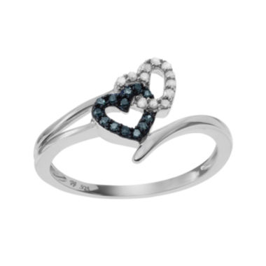 jcpenney.com | 1/4 CT. T.W White & Color-Enhanced Blue Diamond Sterling Silver Heart Ring