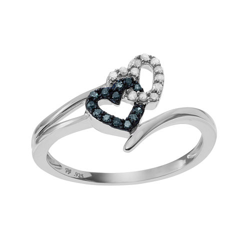 1/4 CT. T.W White & Color-Enhanced Blue Diamond Sterling Silver Heart Ring