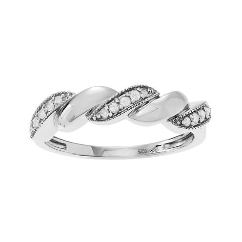 1/6 CT. T.W. Diamond Sterling Silver Rope Twist Ring