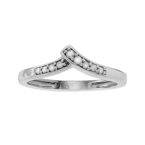 1/10 CT. T.W. Diamond Sterling Silver Chevron Ring