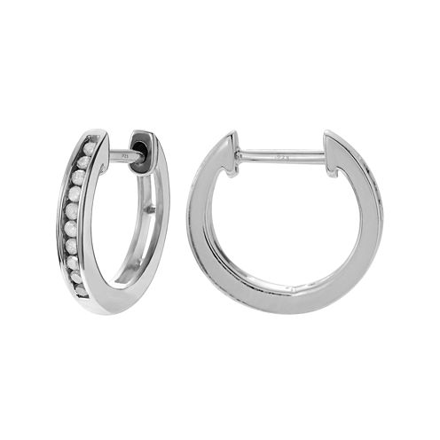 1/5 CT. T.W. Diamond Sterling Silver Hoop Earrings