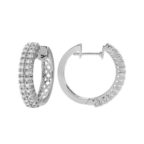1/2 CT. T.W. Diamond Sterling Silver Hoop Earrings