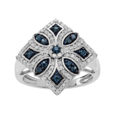 jcpenney.com | 7/8 CT. T.W. White & Color-Enhanced Blue Diamond Sterling Silver Ring