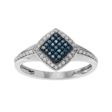 jcpenney.com | 5/8 CT. T.W. White & Color-Enhanced Blue Diamond Sterling Silver Square Ring