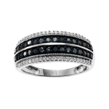 jcpenney.com | 7/8 CT. T.W. White & Color-Enhanced Blue Diamond Sterling Silver Striped Ring