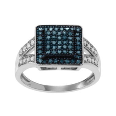 jcpenney.com | 1/3 CT. T.W. White & Color-Enhanced Blue Diamond Sterling Silver Square Ring