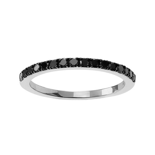 1/6 CT. T.W. Color-Enhanced Black Diamond Sterling Silver Ring