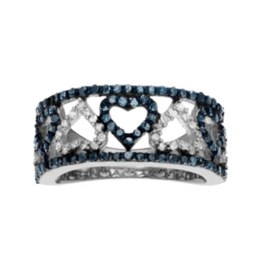jcpenney.com | 1 1/3 CT. T.W. White & Color-Enhanced Blue Diamond Sterling Silver Heart Ring