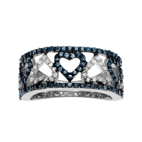 1 1/3 CT. T.W. White & Color-Enhanced Blue Diamond Sterling Silver Heart Ring