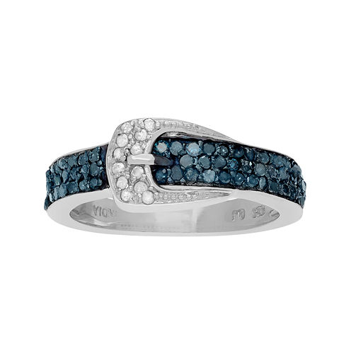 3/4 CT. T.W. White & Color-Enhanced Blue Diamond Sterling Silver Belt Ring