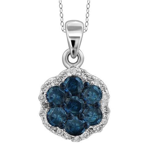 1 CT. T.W. White & Color-Enhanced Blue Diamond Cluster Pendant Necklace