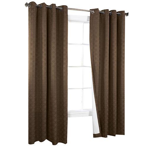 Irongate Blackout Jacquard Grommet-Top Curtain Panel