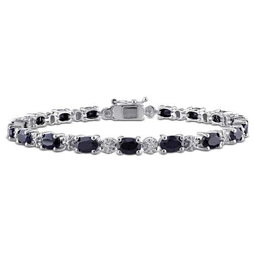 Womens Black Sapphire Sterling Silver Tennis Bracelet