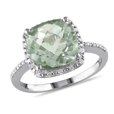 Fine Jewelry Genuine Amethyst and 1/10 CT. T.W. Diamond 10K Rose Gold Ring EBqKUSBBOh