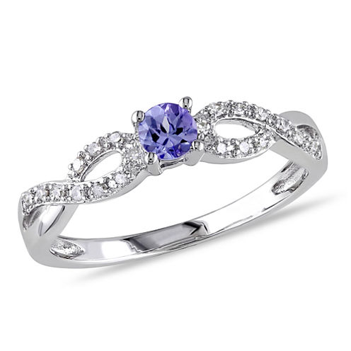 Womens Genuine Purple Tanzanite Sterling Silver Cocktail Ring