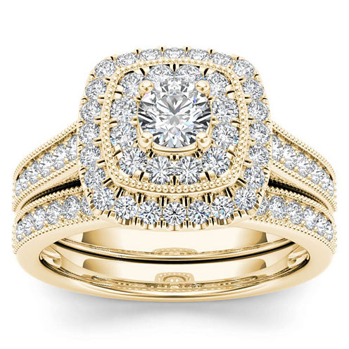 Womens 3/4 CT. T.W. Genuine White Diamond 14K Gold Bridal Set