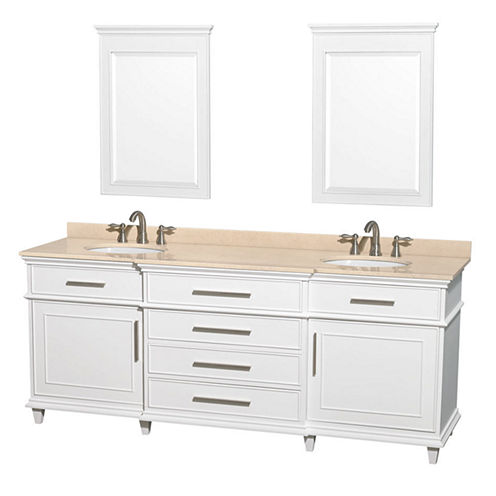 Berkeley 80 inch Double Bathroom Vanity; Ivory Marble Top with White Undermount Oval Sinks and 24 inch Mirrors