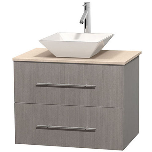 Centra 30 inch Single Bathroom Vanity; Ivory Marble Countertop; Pyra White Porcelain Sink; and No Mirror