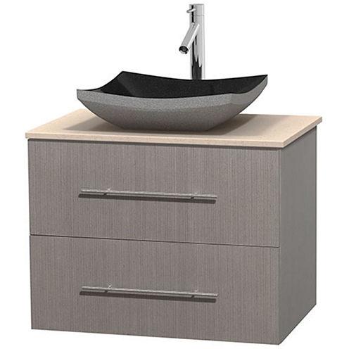 Centra 30 inch Single Bathroom Vanity; Ivory Marble Countertop; Altair Black Granite Sink; and No Mirror