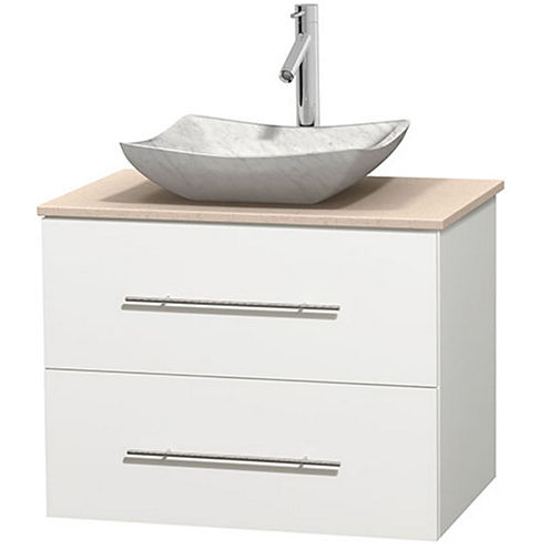 Centra 30 inch Single Bathroom Vanity; Ivory Marble Countertop; Avalon White Carrera Marble Sink; and No Mirror