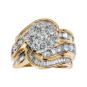 4 CT. T.W. Diamond 14K Two-Tone Gold Swirl Ring