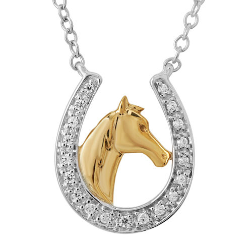 ASPCA® Tender Voices™  1/10 CT. T.W. Diamond Horseshoe Pendant Necklace