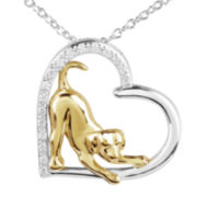 ASPCA® Tender Voices™ 1/10 CT. T.W. Diamond Dog Pendant Necklace