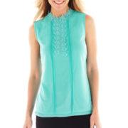 Worthington® Sleeveless Lace Mesh Top