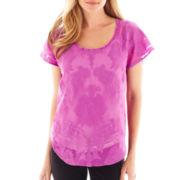 Worthington® Short-Sleeve Embroidered Blouse