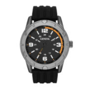 Mens Black Silicone Strap Watch