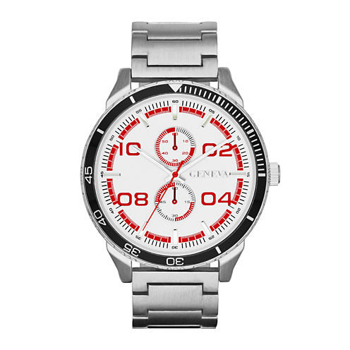 Mens Multifunction-Look Silver-Tone Watch
