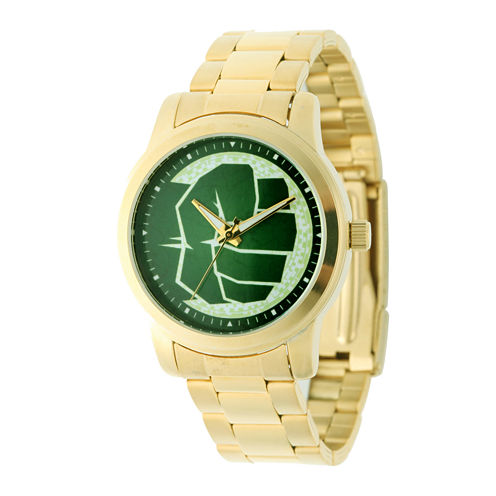 Marvel® Hulk Mens Gold-Tone Stainless Steel Watch